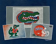 Florida Gators  Paintings - Florida Trio by Herb Strobino