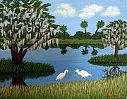 Live Oak Trees Paintings - Florida Wetlands by Frederic Kohli