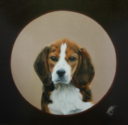 Beagle Puppies Paintings - Floris by Monique Geurts