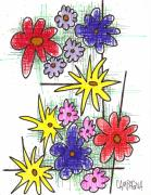 Artist Marker Drawings - Florists Dozen by Teddy Campagna