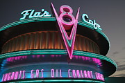 Night Cafe Posters - Flos Cafe - Radiator Springs Cars Land - Disney California Adventure - 5D17749 Poster by Wingsdomain Art and Photography