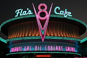 Neon Light Posters - Flos Cafe - Radiator Springs Cars Land - Disney California Adventure - 5D17760 Poster by Wingsdomain Art and Photography