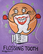 Tooth Mixed Media Prints - Flossing Tooth Print by Anthony Falbo