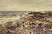Seashore Framed Prints - Flotsam and Jetsam Framed Print by William McTaggart