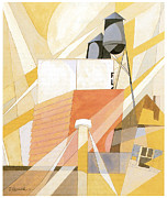 Fine American Art Prints - Flour Mill Factory Print by Charles Demuth