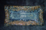 Hand Made Art - Flourish Slab Tray Licorice Glaze by Carolyn Coffey Wallace