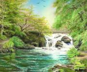 Waterfall Pastels Posters - Flow gently Poster by Vanda Luddy