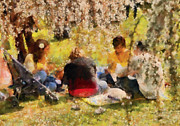 Family Picnic Posters - Flower - Sakura - Afternoon Picnic Poster by Mike Savad