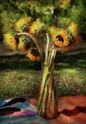 Spring Scenes Metal Prints - Flower - Sunflower - Vase of Sunshine Metal Print by Mike Savad