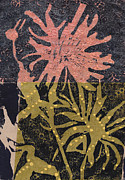Linocut Mixed Media Posters - Flower 1 Poster by Marie Hough