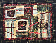 Textile Tapestries - Textiles Originals - Flower Abstract by Patty Caldwell