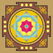 Meditating Digital Art Posters - Flower and star mandala Poster by Steeve Dubois