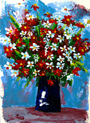 Red Bouquet Paintings - Flower arrangement bouquet by Patricia Awapara