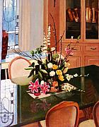 Formal Flower Paintings - Flower Arrangement on Glass Table by Glenn Ledford