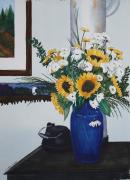 Blue Vase Painting Posters - Flower arrangement on stove Poster by Tina  Sander