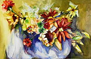 Daiseys Framed Prints - Flower Basket Framed Print by Claire Sallenger Martin