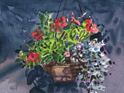 Flower Basket Posters - Flower Basket Poster by Donald Maier