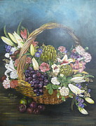 White Grapes Framed Prints - Flower Basket with Fruit Framed Print by Sue Taylor