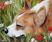 Corgis Framed Prints - Flower Bed Framed Print by Mary Sparrow Smith