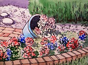 Sketchbook Prints - Flower Bed Sketchbook Project Down My Street Print by Irina Sztukowski