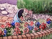 Flower Bed Sketchbook Project Down My Street Print by Irina Sztukowski