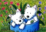 Two Dogs Framed Prints - Flower Bed Westies Framed Print by Kim Niles