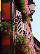 Alsace Framed Prints - Flower boxes and shutters in Alsace Framed Print by Christopher Mullard