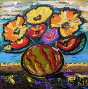 Primitive Raw Art Paintings - Flower Cacophony by Mary Carol Williams