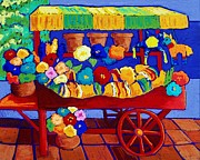 Tiles Pastels Posters - Flower Cart Poster by Candy Mayer