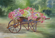 Flower Painting Originals - Flower Cart by Deborah Ronglien