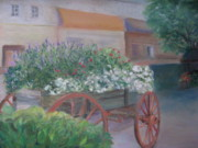 Wagon Pastels Framed Prints - Flower cart in Savannah Framed Print by Diane Larcheveque