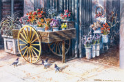 Wa Paintings - Flower Cart Pioneer Sq Seattle by Thomas A Olson