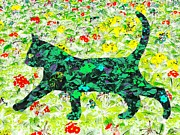 Moignard Prints - Flower Cat Print by Barbara Moignard