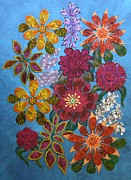 Fabric Mixed Media - Flower Garden by Bob Craig