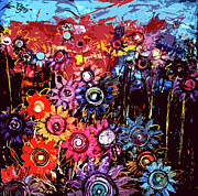 Most Sold Digital Art Mixed Media Prints - Flower garden Print by Karen Elzinga