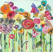 Torn Mixed Media Originals - Flower Garden by Mary Beth Volpini