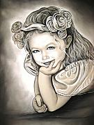 Charcoal Pastels Framed Prints - Flower Girl Framed Print by Anastasis  Anastasi