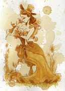 Women Glass Framed Prints - Flower Girl Framed Print by Brian Kesinger