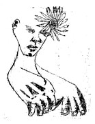 Photocopy Prints - Flower in Hair Print by Edgeworth Johnstone