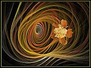 Thrust Framed Prints - Flower In Swirl Thrust Framed Print by Viktor Savchenko
