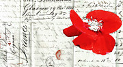 Love Letter Mixed Media Prints - Flower Love Letter Print by adSpice Studios