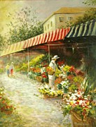 Marketplace Painting Prints - Flower Market Print by Madeleine Holzberg