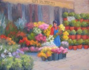 Impressionistic Market Painting Framed Prints - Flower Market on Rue Cler Framed Print by Bunny Oliver