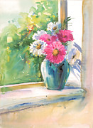 Park Scene Paintings - Flower N Vase 1 by Milind Mulick