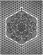Sacred Geometry Drawings Posters - Flower of Life Labyrinth Poster by Raul Castellar