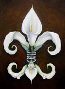 White Flower Paintings - Flower of New Orleans White Calla Lilly by Judy Merrell