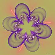 Fractal Mixed Media - Flower Of Pink - Purple by Deborah Benoit