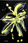 Black Background Mixed Media - Flower on Black by Beverly  Koski