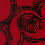 Texture Flower Drawings Posters - Flower on red Poster by HD Connelly