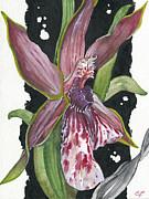 Plant Greeting Cards Painting Framed Prints - Flower ORCHID 10 Elena Yakubovich Framed Print by Elena Yakubovich